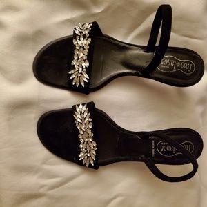 Free*lance Paris Black Kitten Heel Suede Shoes
